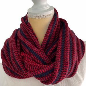 J. Crew Chunky Knit Infinity Scarf  Navy and Red